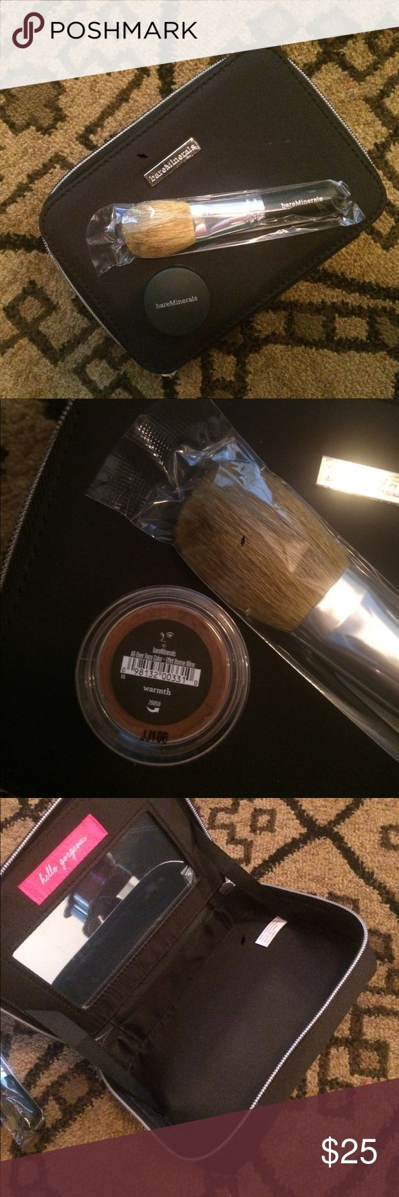 Bare Minerals brush and warmth set New in packaging flawless face brush, warmth and zippered cosmetic bag. Mirror in the bag, hard sides. Makeup