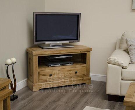 Deluxe Solid Oak Corner TV Unit