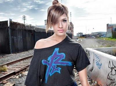 Nicole Anderson in quiet train railroad area photo shoot session.