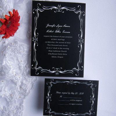 classic black and white wedding invitations ewi014 - Black And White Wedding Invitations