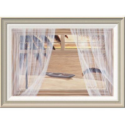 """Global Gallery 'Amber Palm Windows' by Diane Romanello Framed Painting Print Size: 20"""" H x 28"""" W x 1.5"""" D"""