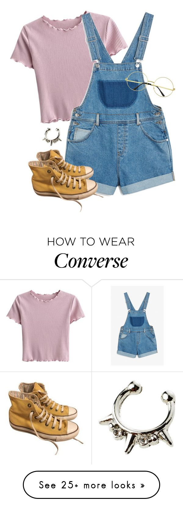 """Untitled #1352"" by grayce-louise on Polyvore featuring Monki and Converse"