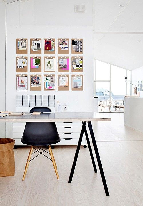 Clip boards on wall. Black and white basics leave you free to decorate with whatever color accents you want