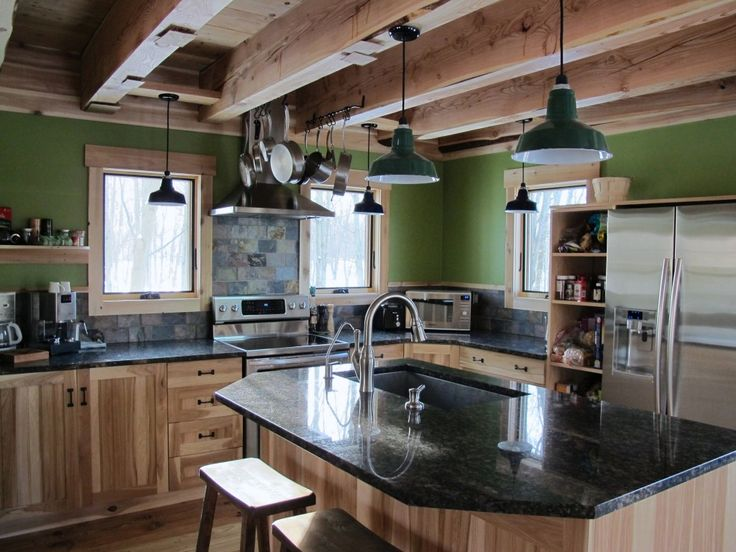 Porcelain barn lights give rustic look to farmhouse kitchen industrial farmhouse