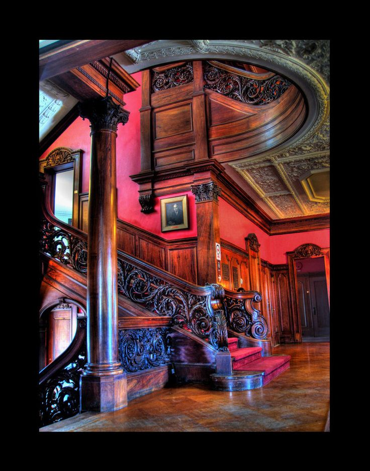 The grand staircase located in the Webb-Horton Mansion, now part of Orange Community College in Middletown NY. #MostBeautifulArchitecture #Staircases