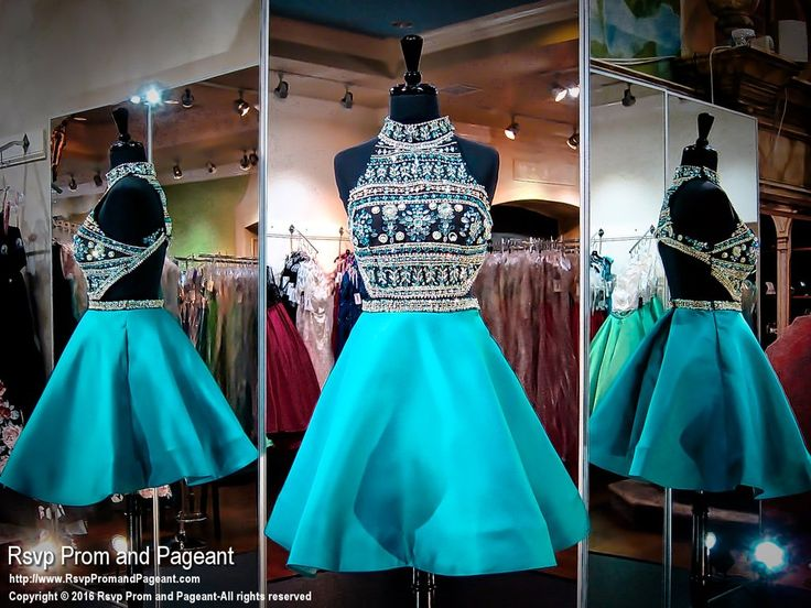 Black Teal Two Piece High Neckline Open Back Short Homecoming Dress
