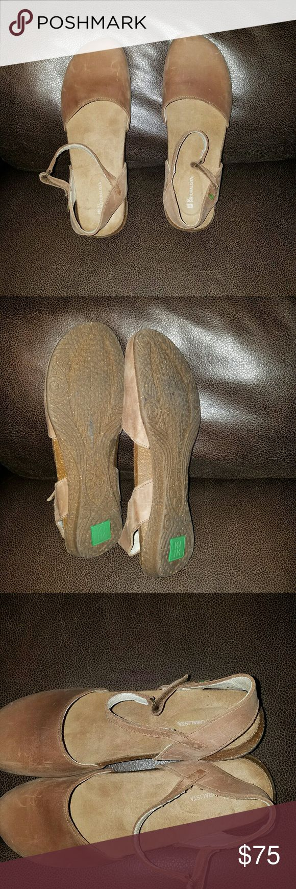 *NEW*EL naturalista shoes El naturalista wakataua shoes , full grain leather upper , genuine leather lining , high quality synthetic rubber outsoles,  hook and loop strap for easy on n off, wood 2 color ,, new never wore .. the size says 41 which says a woman's 10 but on here it says a 41 is an 11.. so I'll go inbetween.. Shoes Flats & Loafers