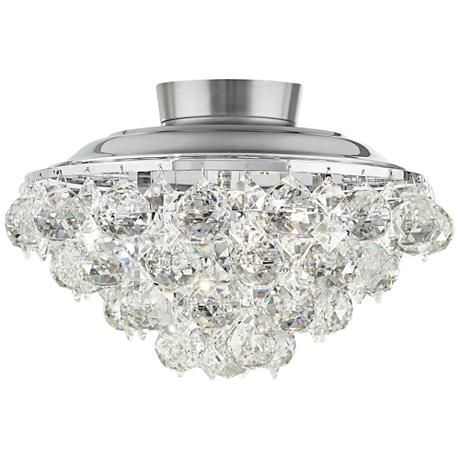 Clear Crystal Ball Chrome Universal Ceiling Fan Light Kit - #8R575 | www.lampsplus.com
