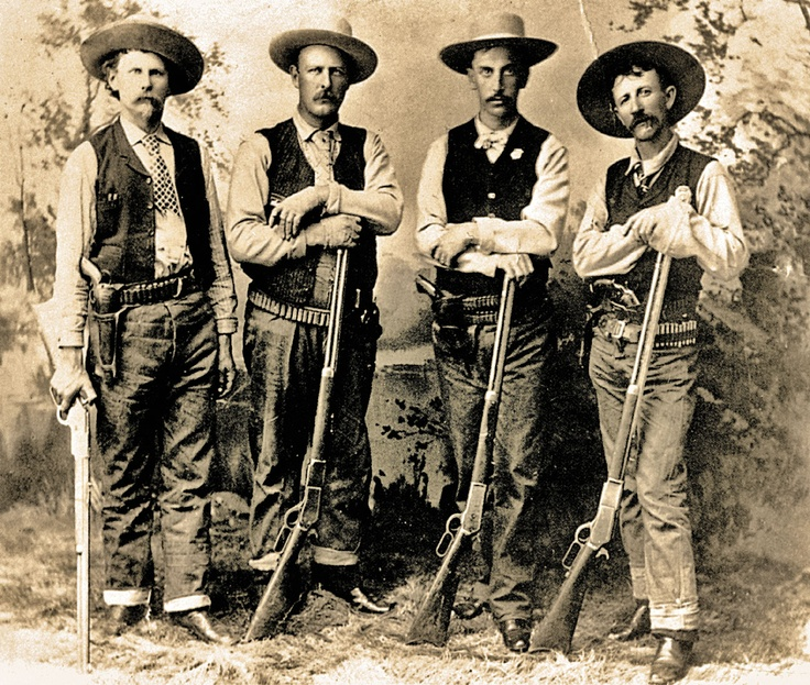 PRESCOTT POSSE — Yavapai County Sheriff Buckey O'Neill (third from left) had his horse shot out from under him during a gunfight near Wah Weep Canyon in Utah, yet he and his posse still scared the outlaws into surrendering. Those bad men were four cowboys who had robbed an Atlantic & Pacific train at Canyon Diablo Station, a railhead that serviced Prescott, Arizona.