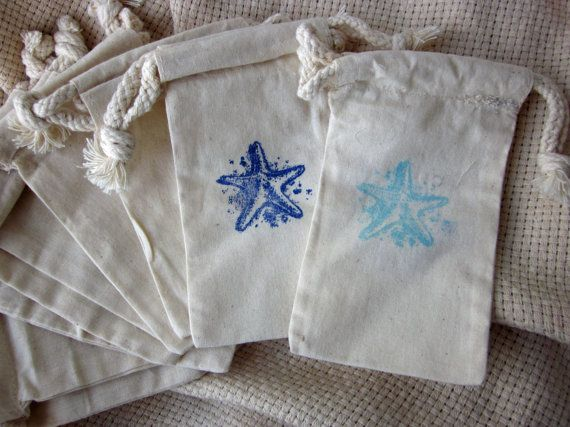 starfish beach wedding favors cotton favor bags beach wedding favors ...