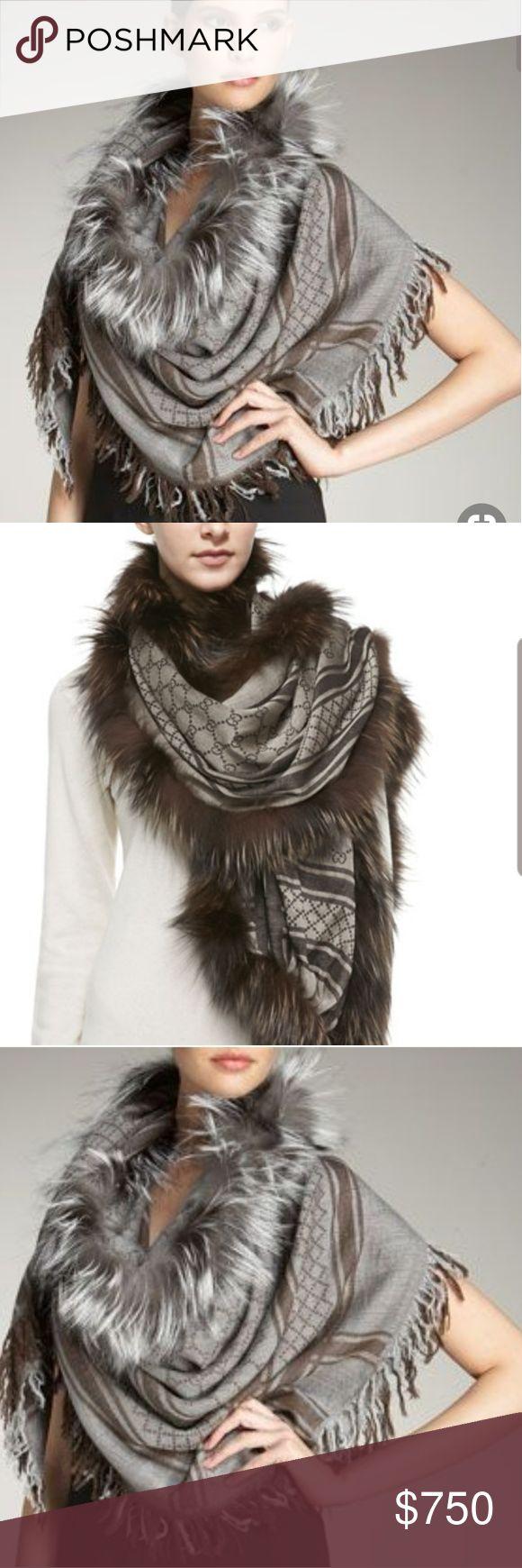 Gucci Survie Fox Fur Guccissima Cashmere Shawl Guc…