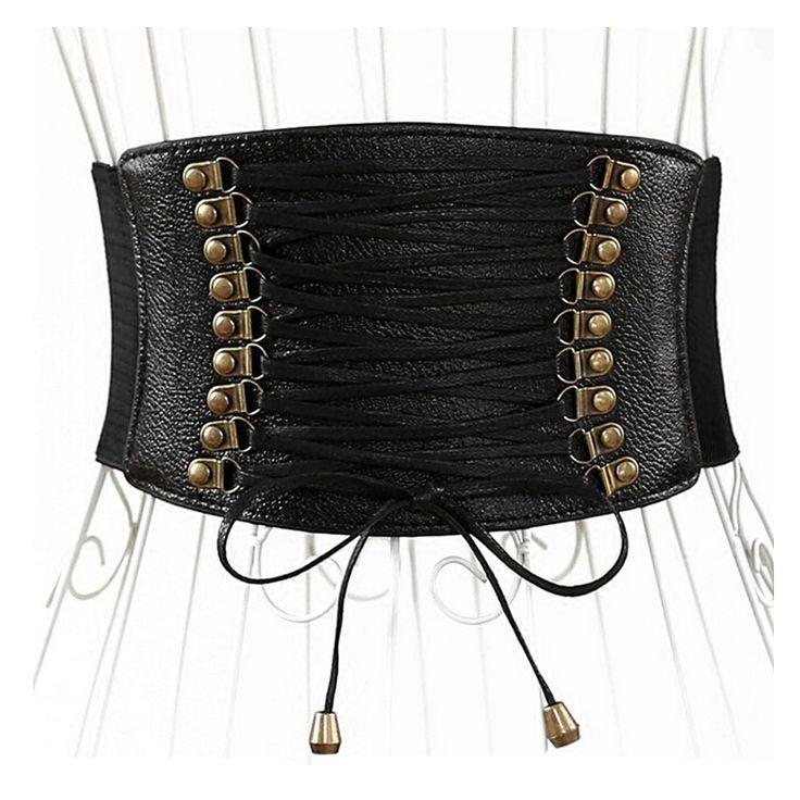 2016 fashion Multi-layer leather wide belt cummerbunds metal leather elastic belts for women Elastic wide belt, Female
