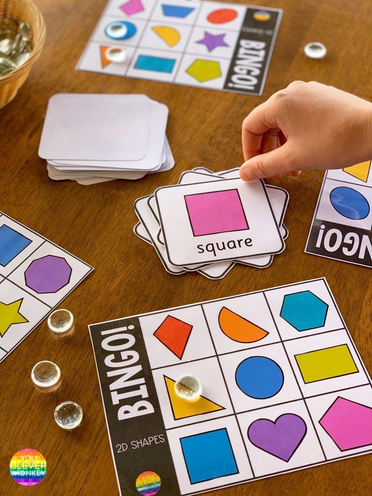 2D Shape BINGO Game Shapes for kids, Shape games, Shapes