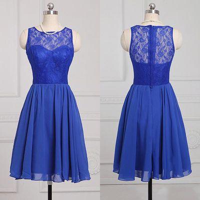 Popular Royal Blue Bridesmaid Dress, Sleeveless Chiffon Bridesmaid Dress, Knee-length Lace Bridesmaid Dresses, #01012886 from VanessaWu