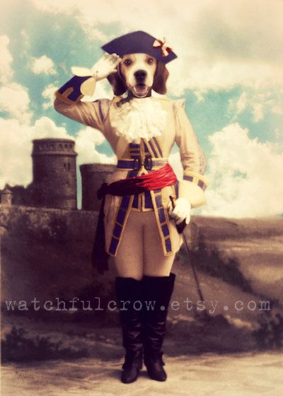 "Dog Art, Beagle Art, Soldier Photo, Military, Collage, Anthropomorphic, Surreal, 5 x 7, ""Ready, Willing, & Able"""