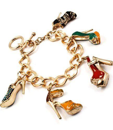 Shoe Charm Bracelet: High Heel Shoes Gold Tone Enamel Crystal Charm Bracelet