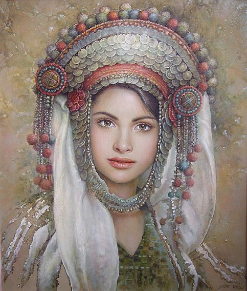 Wonderful Slavic art with folklore detail from Bulgaria