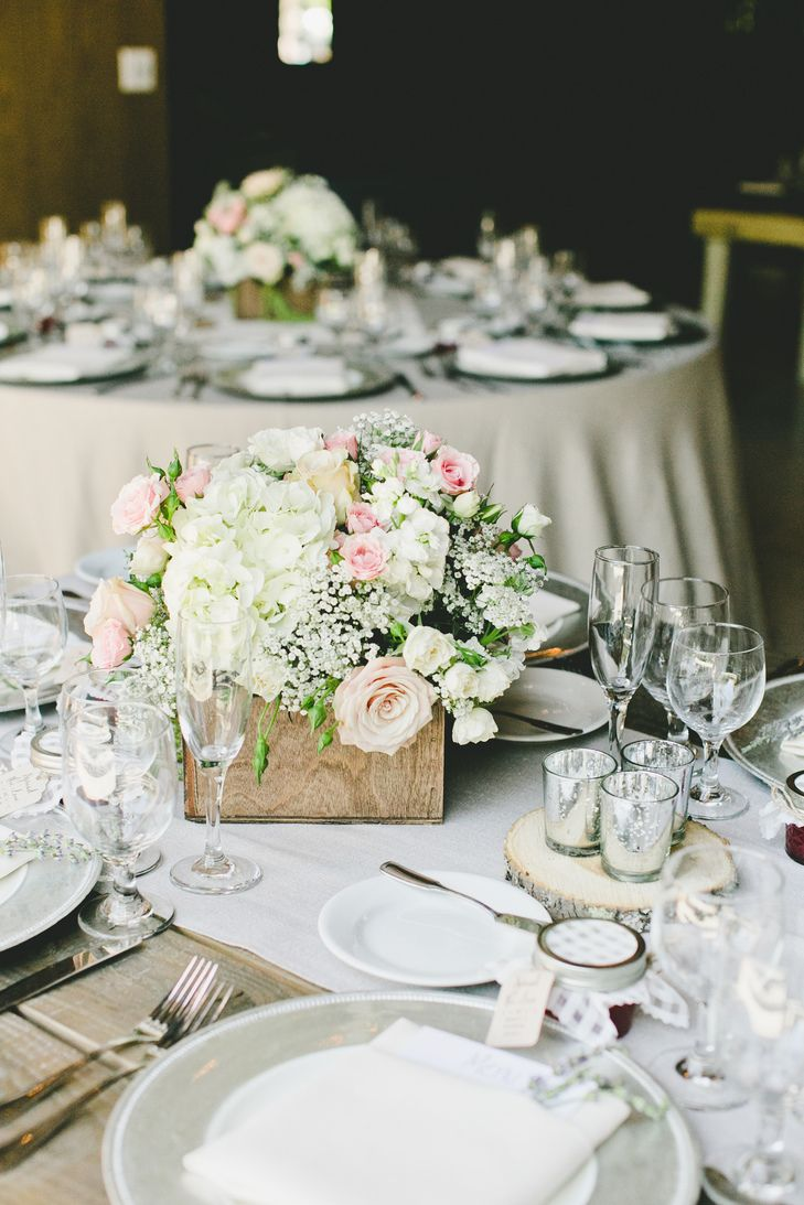 Hydrangea, Rose and Baby's Breath Centerpieces | Photo: OneLove Photography | Arrangements: Sweet Pea Floral Creations |