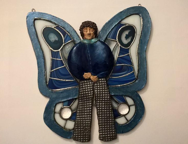 Ceramic butterfly man with stained glass wings keramický motýlák s tiffany křídly