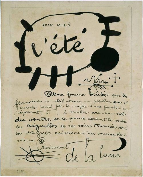 margadirube:  lucienballard:l'été Poema-cuadro Joan Miró 1927