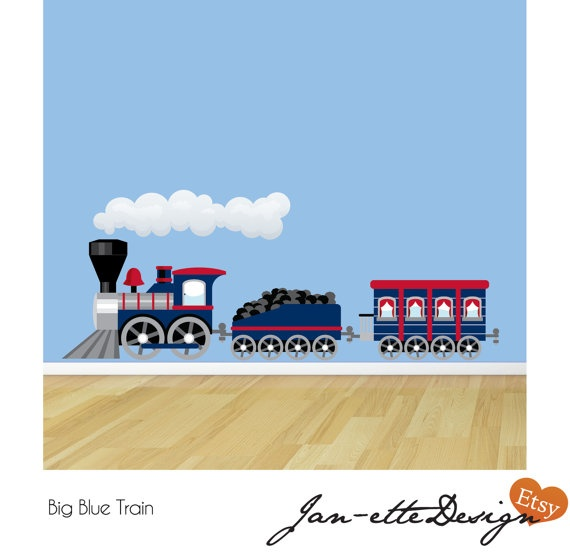 BIG Blue Train Fabric Wall Decal By JanetteDesign On Etsy, $74.50