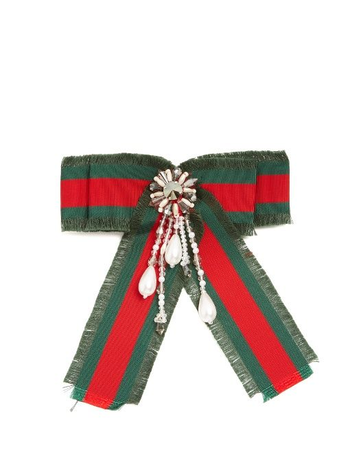 Gucci Crystal-embellished Web-stripe bow brooch