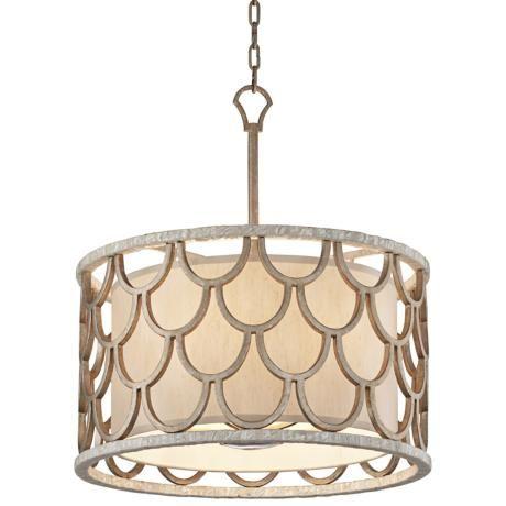 "Corbett Koi Collection 26"" Wide Textured Koi Leaf Pendant #lighting"