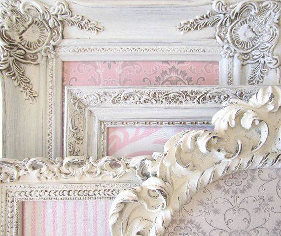 COLLECTION of MAGNET BOARDS Girls Nursery Wall Decor Pink White Ivory Vintage Picture Frame Collage Set Damask Shabby Chic Unique Baby Gift