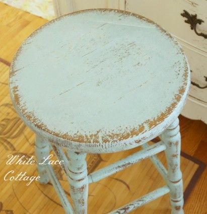 Eulalie's Sky stool by Ann of White Lace Cottage...