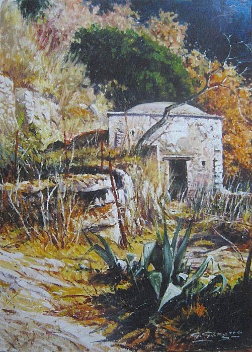 Agave e sole by giuseppe gorgero  Opera ad olio cm.30 x 40 - Alture della costiera Amalfitana