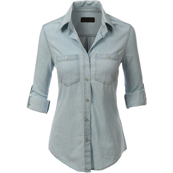 LE3NO Womens Lightweight Button Down Denim Jean Shirt ($21) ❤ liked on Polyvore featuring tops, denim button down shirt, long shirts, long blue shirt, denim shirt and button-front shirt