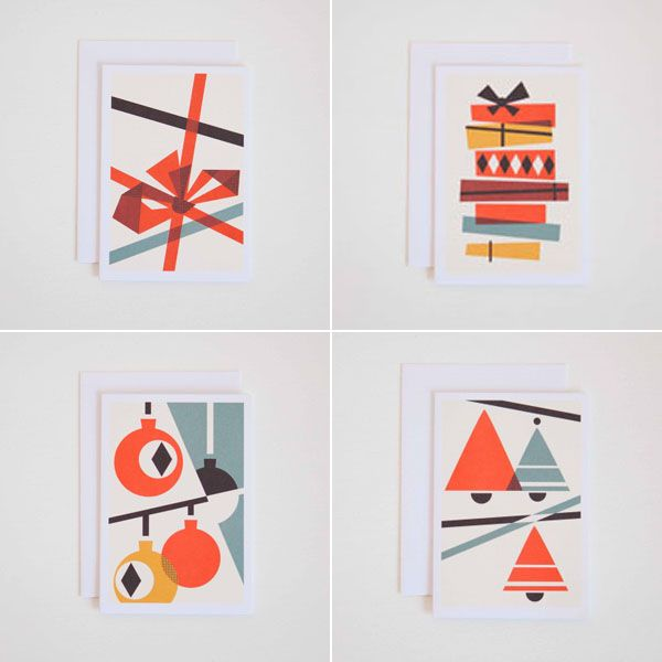 This 'Candy Canes' Christmas cards range by Darling Clementine is inspired  by the classic graphics of the Bauhaus. Sure to be appreciated by your  design loving friends, the cards are priced at £7.50 for a set of four and  are available from Quill London, (one of Design Hunter's December  sponsors).  Quill London are currently offering free delivery on all orders over £10.