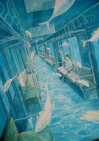 surrealism and perspective. i like this color and use of two different locations.