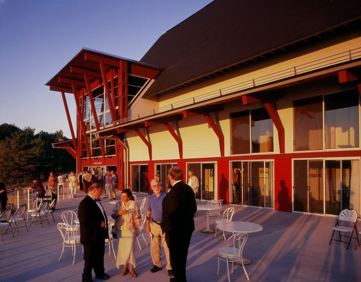 The Patio Overlooking the Bay at the Charles W. Stockey Centre in Parry Sound, ON.