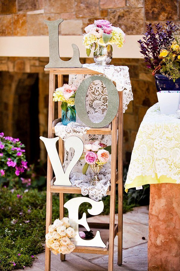 lace and floral garden bridal shower decorations
