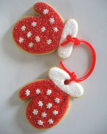 Mitten Cookies - You won't lose any mittens once they are securely tied with licorice! Submitted by suezkpo. You rock! RU here on Pinterest?