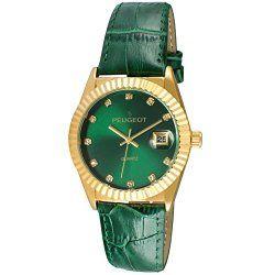 Peugeot Women's 3045GR Gold Tone Green Leather Strap Analog Display Quartz Green Watch