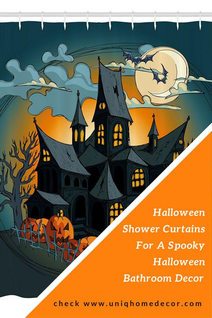 Halloween Shower Curtains for a spooky Halloween bathroom decor