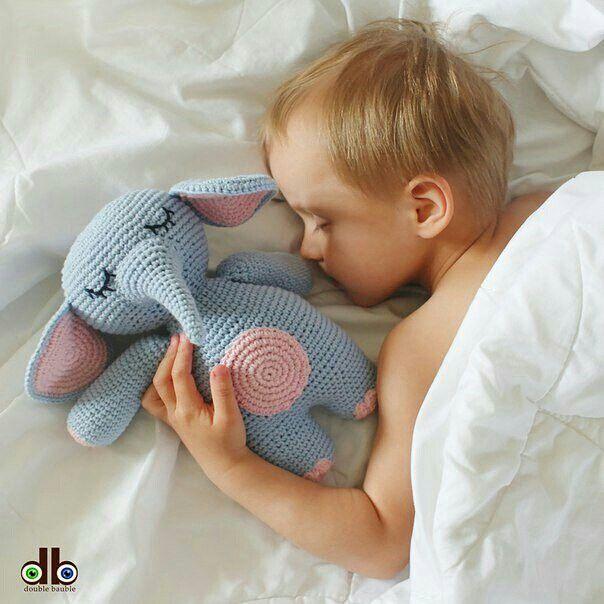 Crochet toy elephant for  sweet sleeping