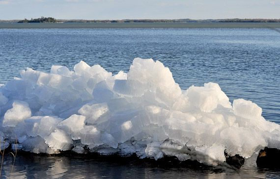 Ice out on Wabigoon lake in Dryden, Ontario, Canada