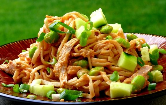 Cold Peanut Soba Noodles with Chicken | Noble Pig (I want to add diced ...