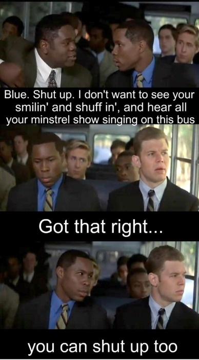 "Remember the Titans~ This is clearly the start of a beautiful friendship ""you can shut up too."" (And I love Ryan Gosling in the background!)"