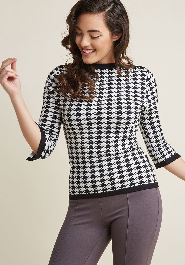 Banned Up to Parisienne Sweater in Houndstooth | ModCloth