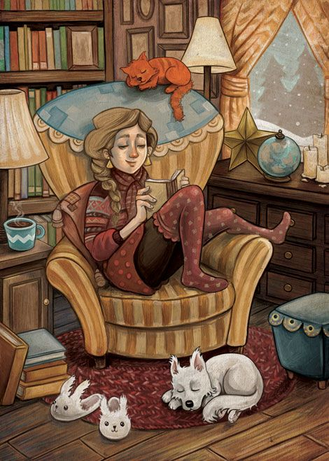 "sandyvazan: ""Wish I could just sit down by a fire and read right now during this blizzard but A. I'm missing the fireplace and b. I have about 6 works to prepare for print. So I painted myself reading..."