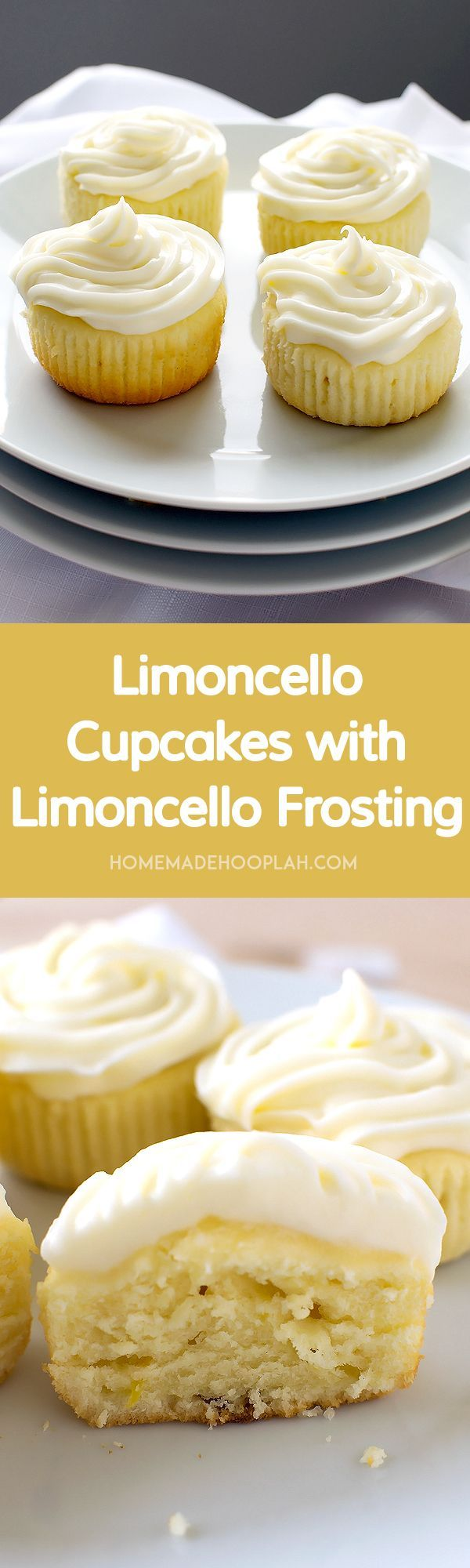 Limoncello Cupcakes with Limoncello Frosting! Cake-like Limoncello cupcakes topped with cream cheese frosting infused with more Limoncello. | HomemadeHooplah.com