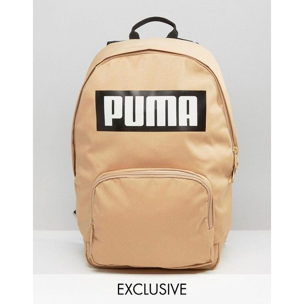 Puma Exclusive To ASOS Logo Backpack In Sand ($29) ❤ liked on Polyvore featuring bags, backpacks, brown, beige bag, beige backpack, puma bag, day pack backpack and sand bags
