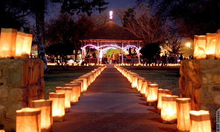 Create romantic lighting with paper-bag lanterns.