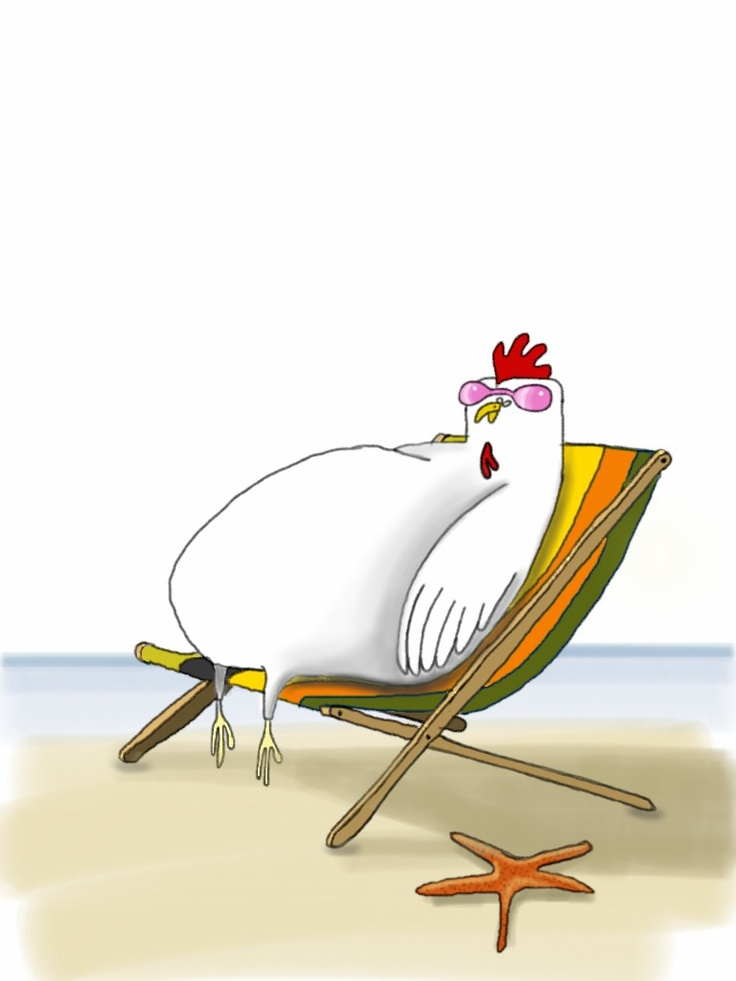 Chicken on the beach #illustration