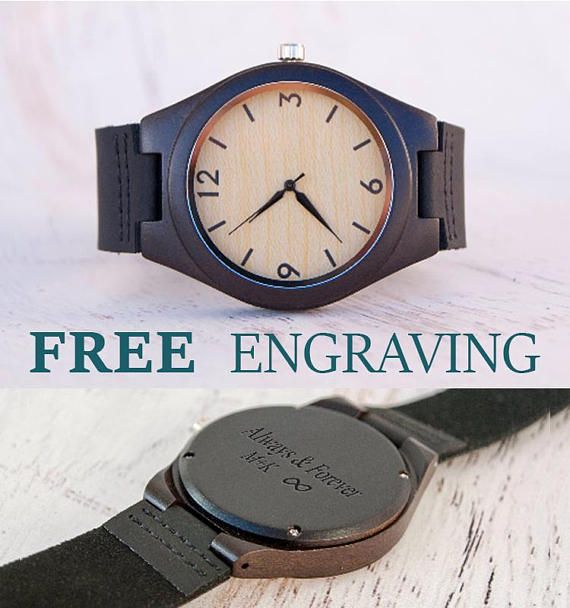 Mens Gift Christmas Gift For Men Wooden Watch Personalized