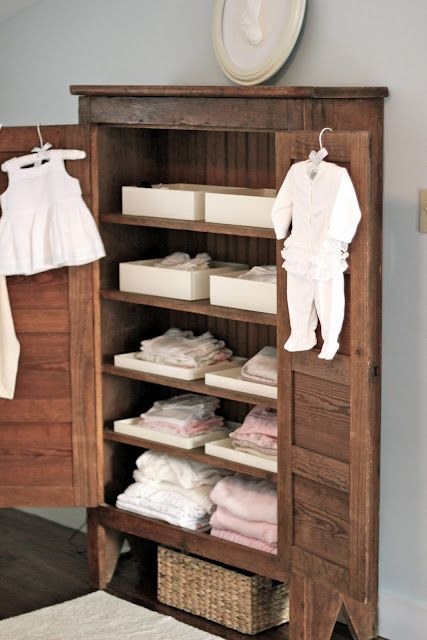 cute! I love how the rustic look contrasts all the clean white baby stuff:)